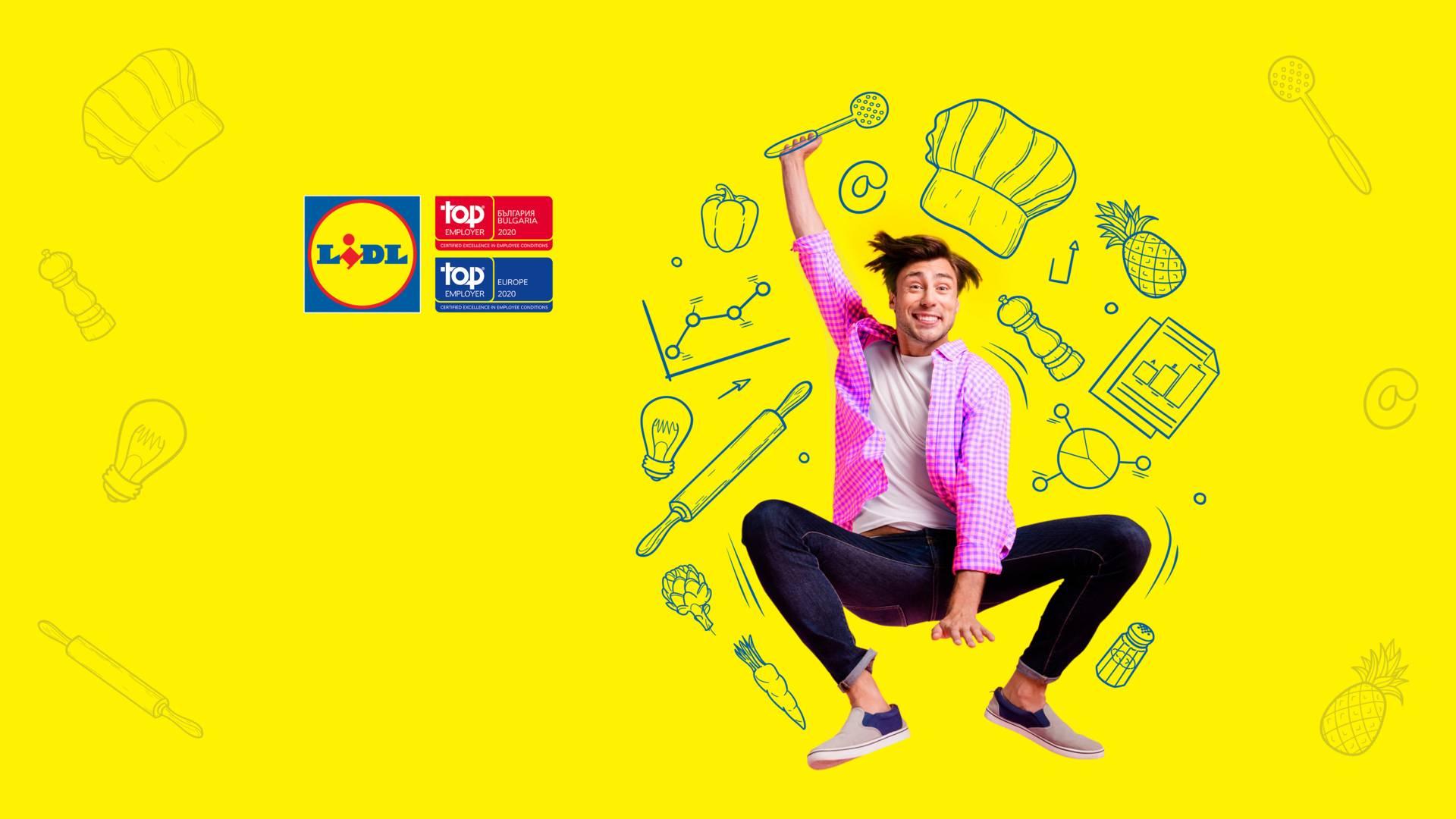 Млад мъж в скок на жълт фон рисувани фигури храни и уреди, лого лидл и топ емплойър 2020