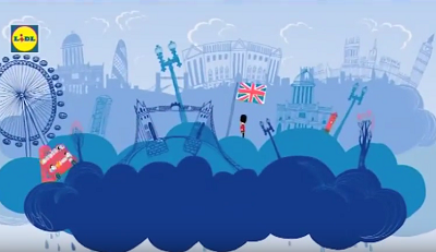Графично представена Великобритания с извесни монументи от Лондон